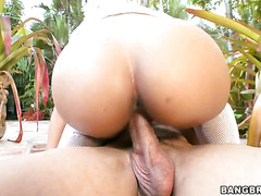 Captivating latina Ana with round ass is riding on his dick