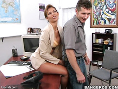 Winning brunette is having sexual intercourse with her boss indoors