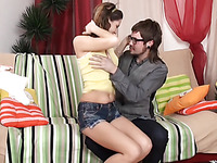 Teen sexy damsel got her ass checked out and pressed with dick