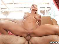 Big tits blonde gets facial after hard fucking