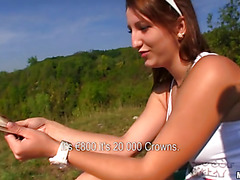 Slutty young whore is blowing a dick and is riding a fat huge dick fast
