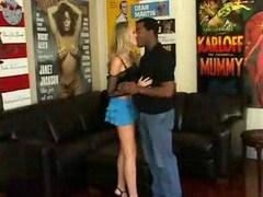 Hot interracial pair having sex