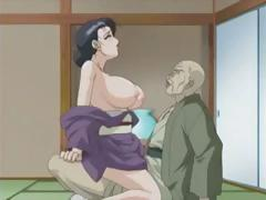 Brunette anime MILF takes big cock in her mouth and hairy pussy