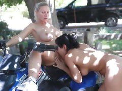 Devon Lee on big bike get cunt licked and fingered