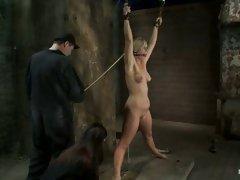 Slutty blonde slut gets tied down and manhandled by her boyfriend