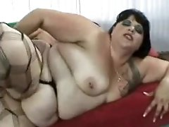 Fat fuck in stockings fucked in the ass