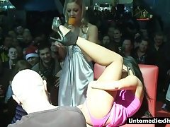 Bald guy toys the strippers pussy