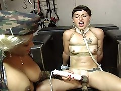 Hot busty mistress gives her slave some bondage initations