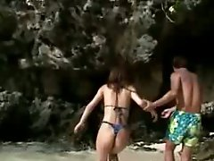 Japanese slut beach strip and fingering