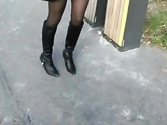 Sexy legal age teenager in nylons doggy drilled