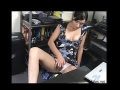Cute carmi sits and plays with her toy over her pants
