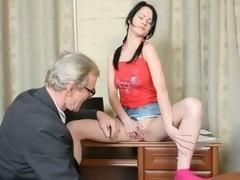 Sexy juvenile student tastes her teacher's jock