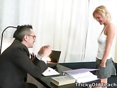 Lovely golden-haired chick Shelly is spending some quality tutorial time with her teacher