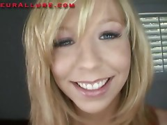 Petite Golden-Haired Legal Age Teenager Swallows Ramrod