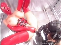 Busty BDSM-Loving Lesbians Fuck Their Assholes in Sexy Latex Outfits