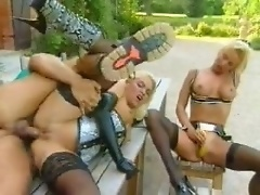 Latex gloves and lingerie on anal sluts