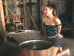 A lezdom BDSM session that almost makes the slavegirl faint