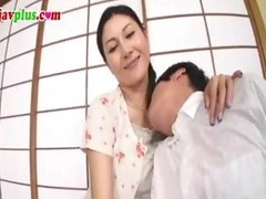 Censored clip of a Japanese MILF fucking a much younger man