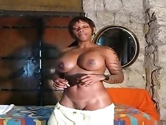 Fit black gal positions solo and talks to you